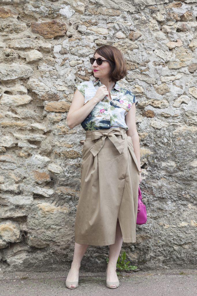 mode blog blogueuse paris zara jupe midi imprimé tropical noeud