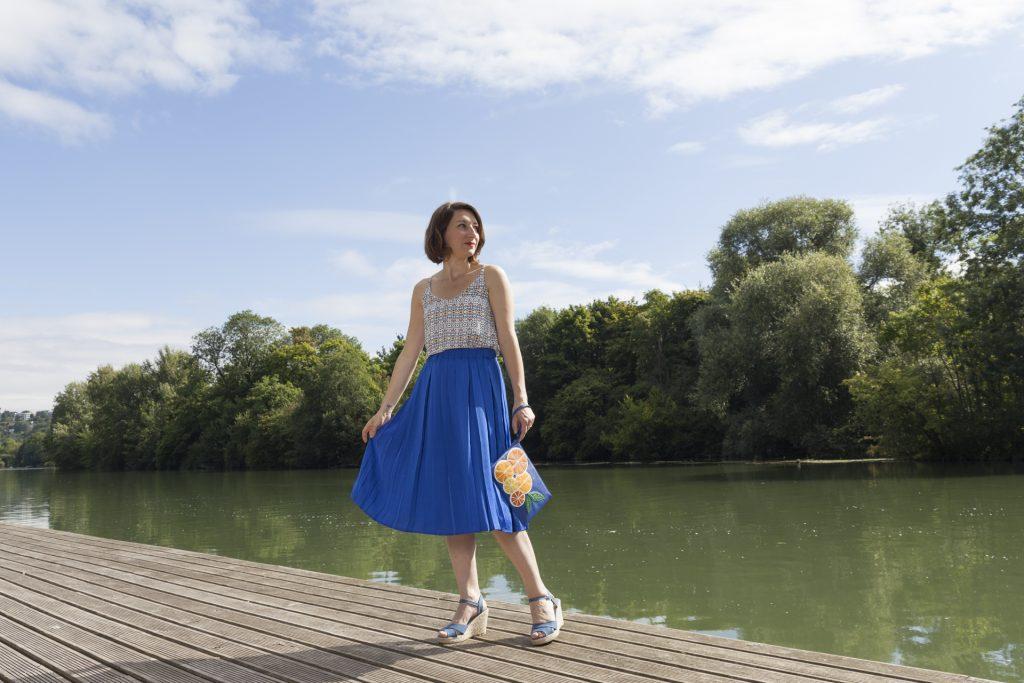 jupe midi bleu dur roi mango mode blog blogueuse paris