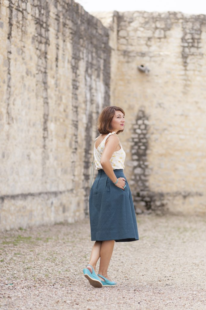 jupe midi blog bloggeuse mode paris look fashion vert citron