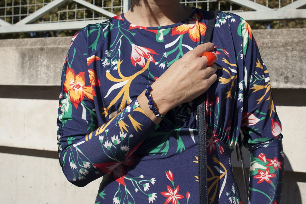 robe zara imprimé fleurs floral couleurs salomés rétro pars mode blog blogueuse