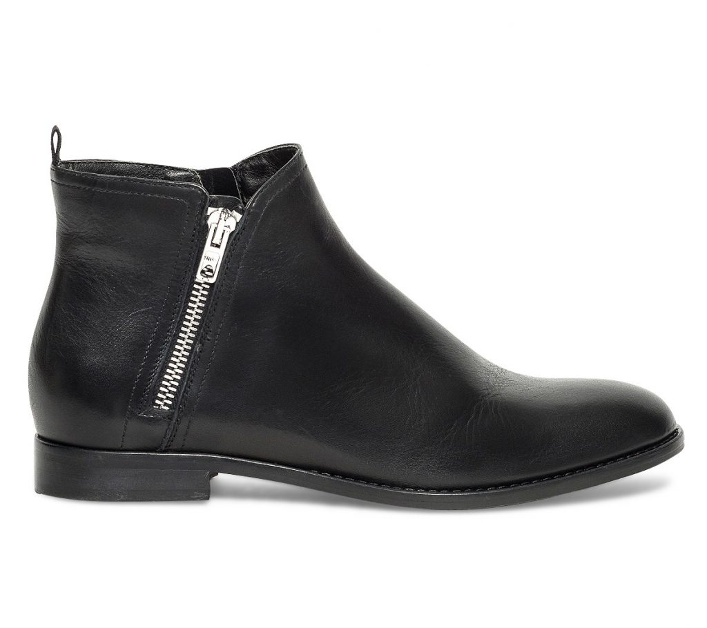 chaussures boots bottines noires cuir made look zip