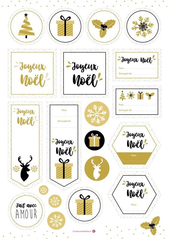 étiquettes noel, diy, cadeau, emballage cadeau, gratuit,