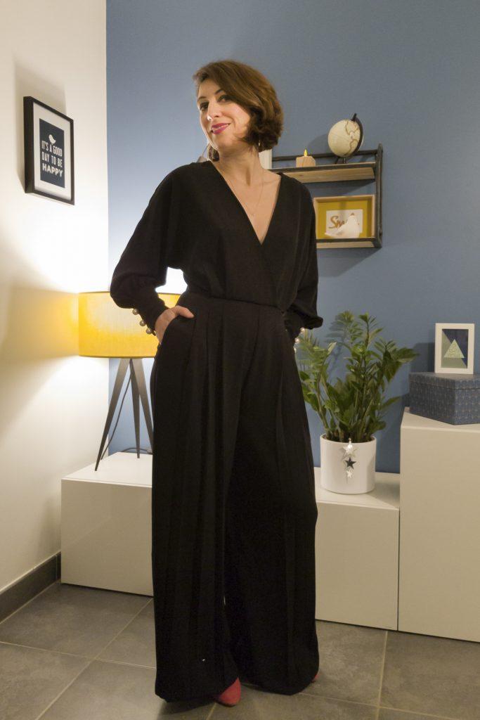 combipantalon, combinaison, tenue de fête, noir, black, jour de l'an, emma & Chloé, zara, tenue de fête, new year