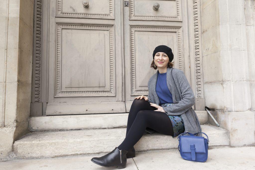 Pimkie, jupe jaquard, bleu, paris, blog, mode, bloggueuse, manteau long, béret, bottines
