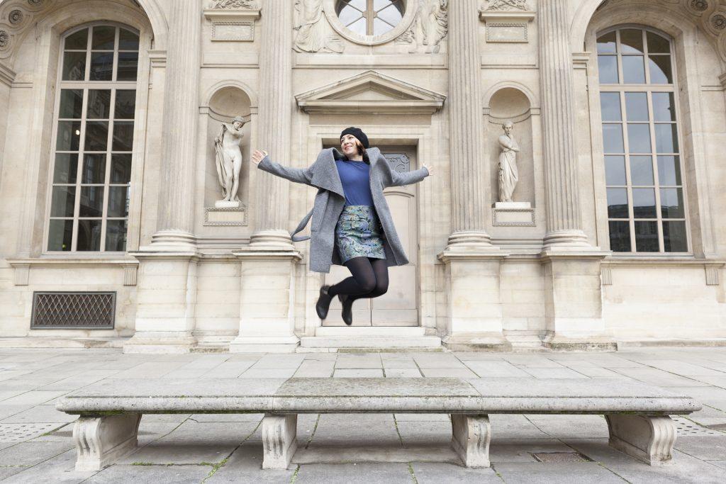Pimkie, jupe jaquard, bleu, paris, blog, mode, bloggueuse, manteau long, béret, bottines, Ma jupe imprimée colorée