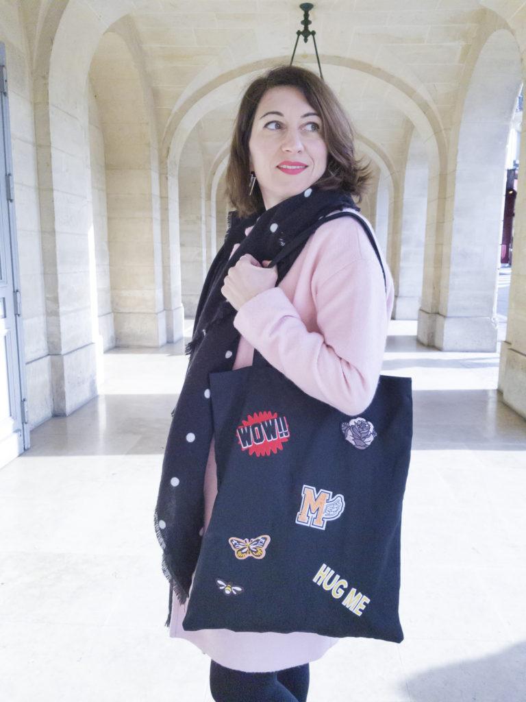 jupe glitter paillettes brillante manteau rose camaieu pimkie tote bag boots noires paris blog blogueuse mode paris