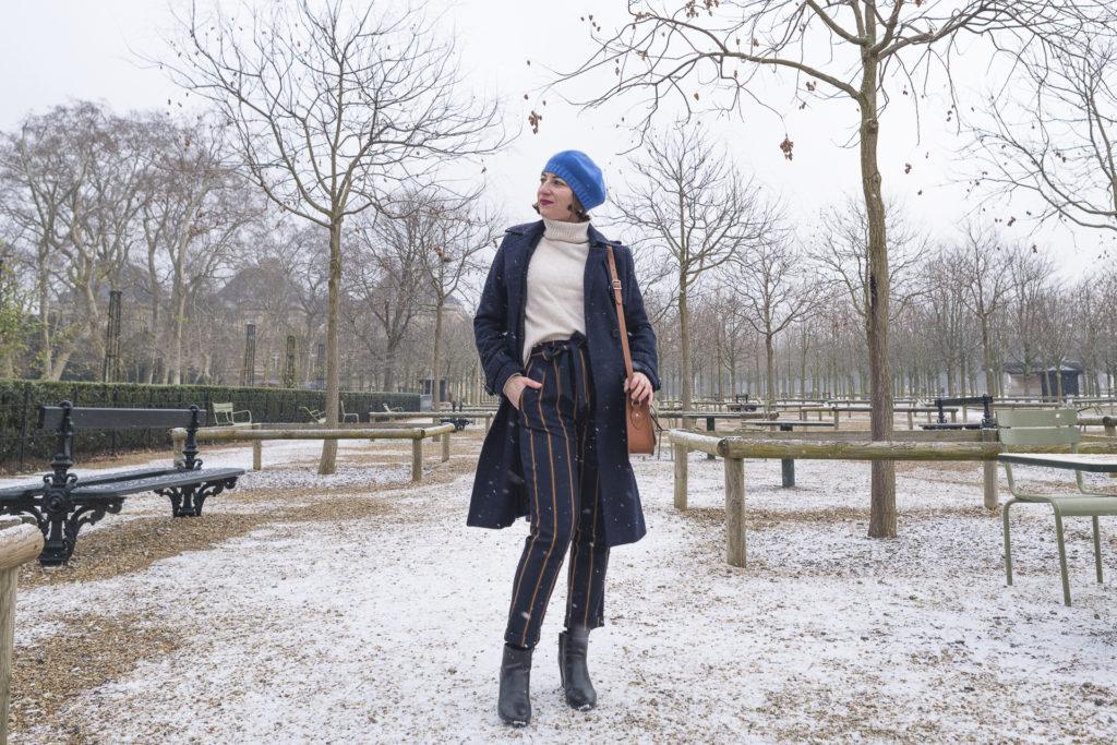 neige snow blanc rayure bleu marine parc parisien paris blog mode fashion