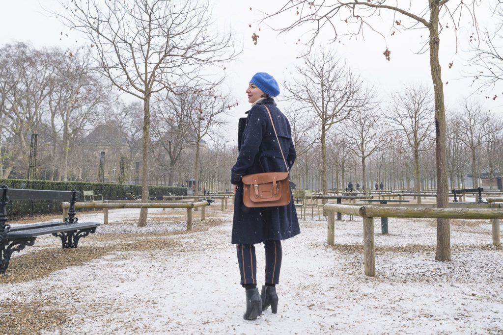neige snow blanc rayure bleu marine parc parisien paris blog mode fashion sac cartable